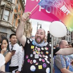 Man Holding a Balloon Posing for the Event Photographer Nikolay Mirchev at London Pride 2015
