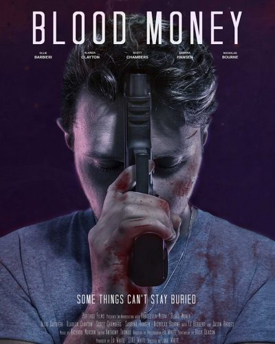 Blood Money movie poster featuring Ollie Barbieri holding a smoking gun