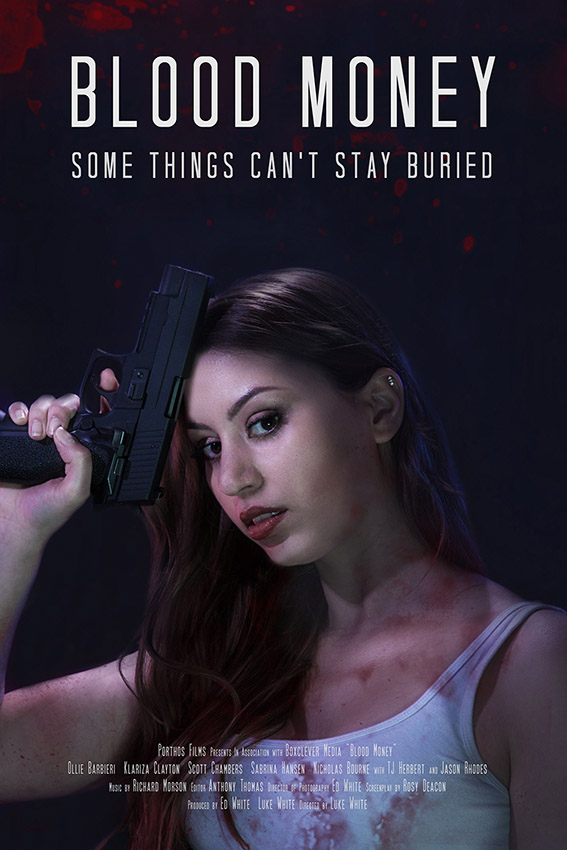 DVD cover for the indie movie Blood Money featuring Sabrina Hansen holding a gun