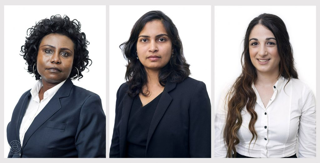 collage of three corporate portraits featuring female accountants