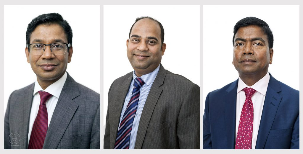 collage of three corporate portraits featuring male accountants
