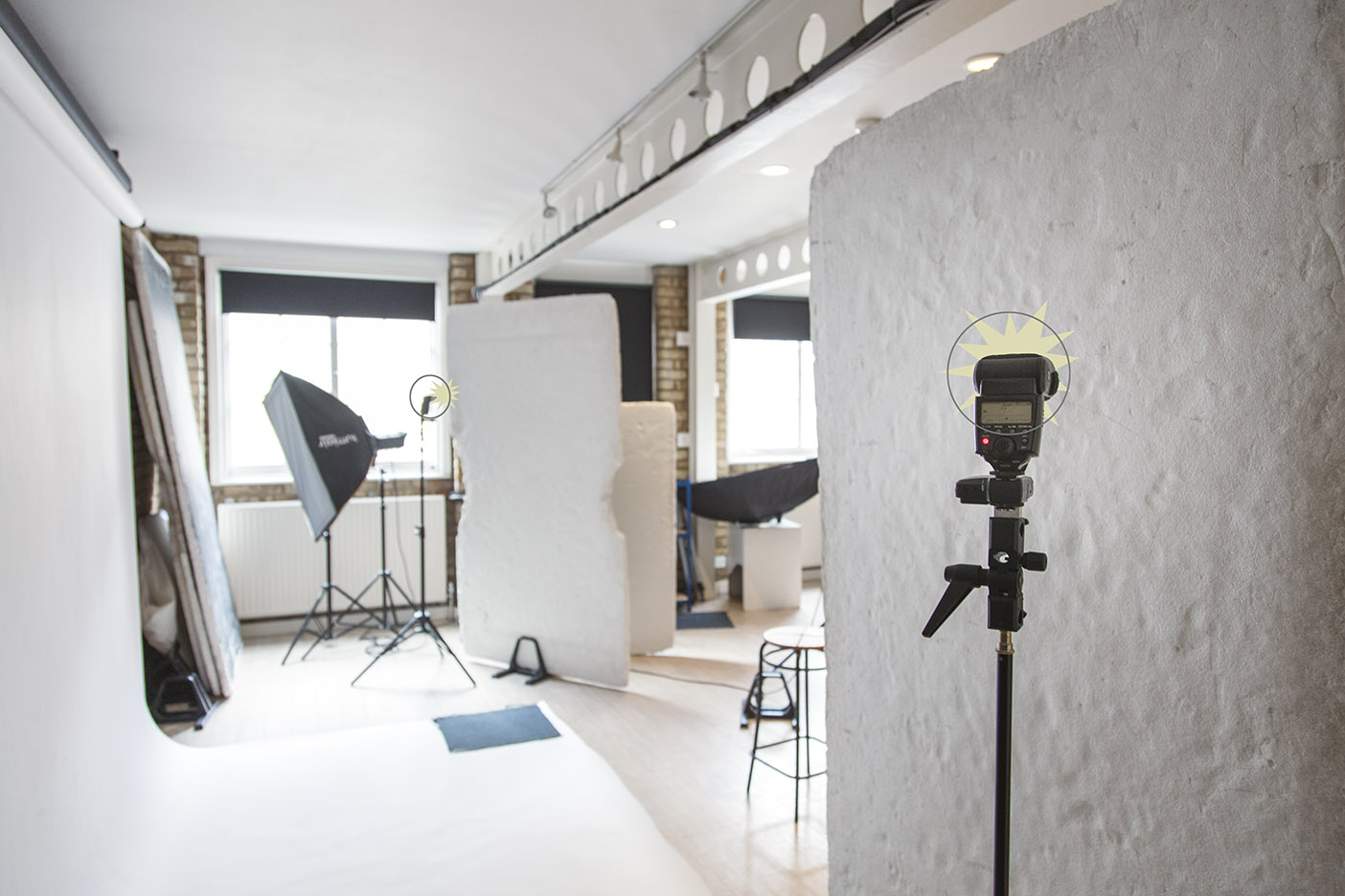 illuminating a white background in photographic studio with two speedlites bounced into polyfoam